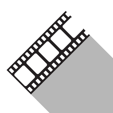 Blank film strip in flat style. Film frame, vector illustration. Flat style icon with long shadow.