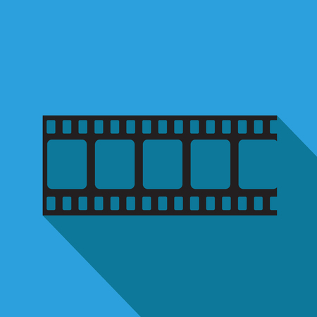 Blank film strip. Film frame, vector illustration. Flat style icon on blue background with long shadow.