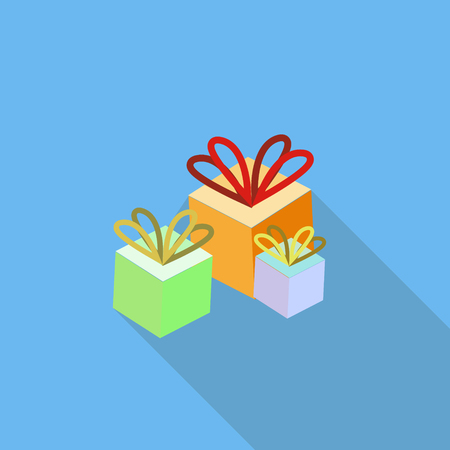 Gift colorful boxes on blue background. Flat isometric icon style with long shadow. Vector illustration.