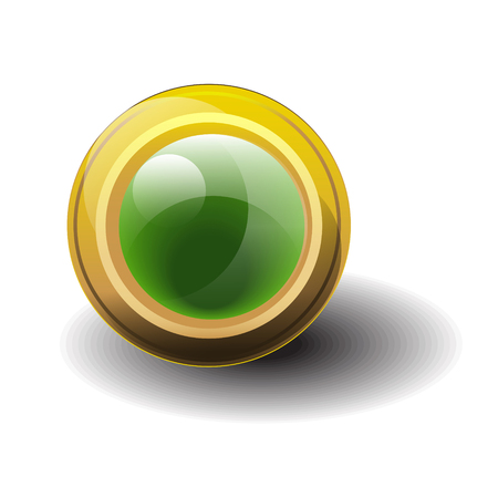 Gold button with green emerald shiny stone. Vector illustration.