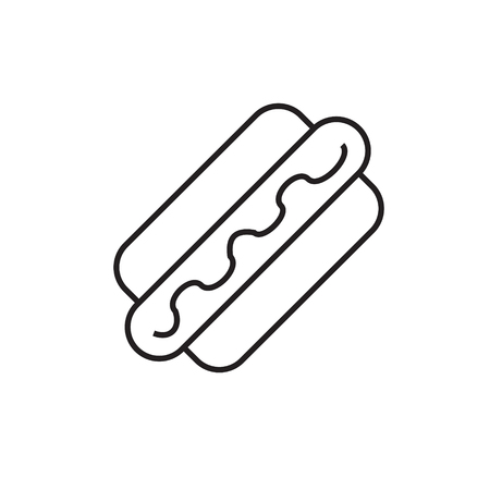Hot dog line icon. Fast food concept illustration. Modern line icon design. Modern icons for mobile interface. Vector illustration. Ilustracja