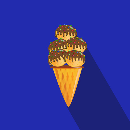 Bright tasty ice cream. Flat icon on blue background with long shadow. Vector illustration