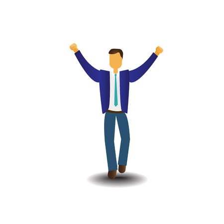 Business Man Icon Excited Hold Hands Up Raised Arms, Businessman Full Length Concept Winner Success Vector Illustration Ilustracja