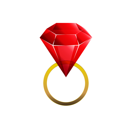 Colorful and shiny Rubin red golden ring, Vector Illustration EPS10. Geometric design for business presentations.Vector diamont logo.