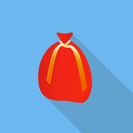 gift bags: Big red Santa Clauss sack for Christmas gifts and sweets. Flat icon style with long shadow. Vector illustration. Illustration