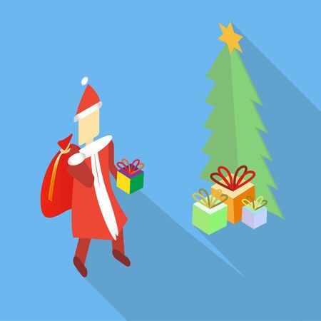 Modern isometric vector Santa Claus bringing the present to the Christmas tree. Flat icon style with long shadow. Vector illustration.