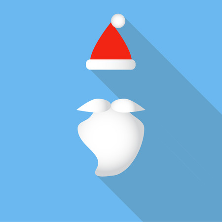 Red vector Santas hat, beard and mustaches on blue background. Flat icon style with long shadow. Vector illustration.