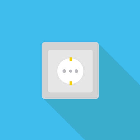 Socket vector icon in flat style with long shadow. Vector