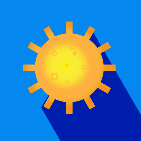Sun burst logo icon with long shadow. Sun, summer, nature, sky, summer. Sunshine sun logo. Sun icon- vector illustration