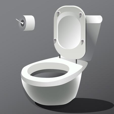 toilet bowl: Toilet bowl isolated on white photo-realistic vector illustration Illustration