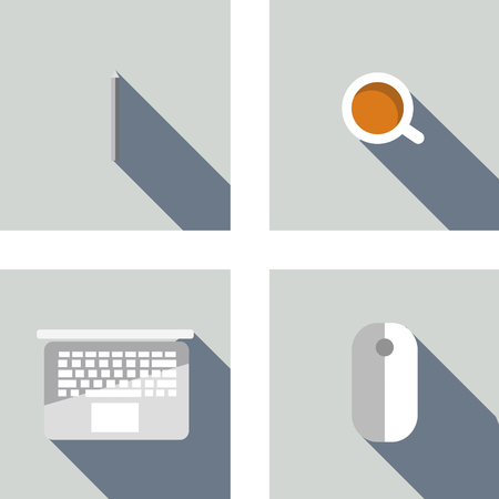 Set of 4 flat icons: pen, laptop, mouse, coffee. Flat design concept for Creatives, Graphic design and Business and Work Space. Vector Design.