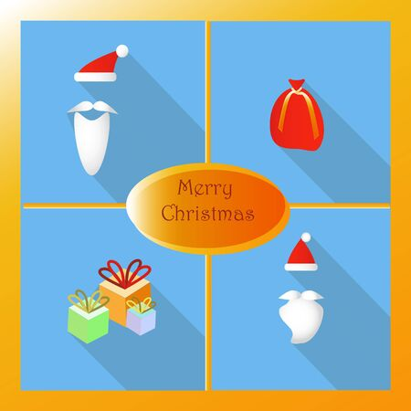 Set of elements for Christmas and New Year. Santas beard and presents. Flat icons style with long shadow. Vector illustration.