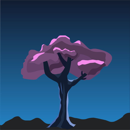 Purple Tree Cartoon 2D game vector illustration. Violet tree in the night under the moonlight. Element for your game or Halloween design.