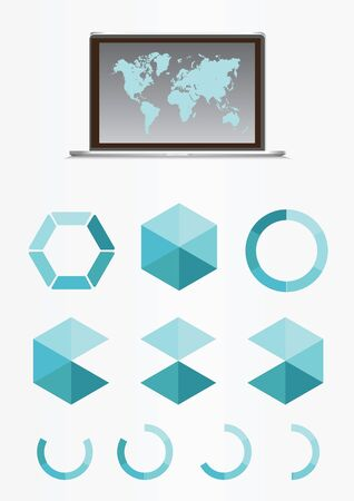 Business infographic set. Infographics set contains a laptop with world map, graphs and charts. Vector illustration for report, web design, timeline. Zdjęcie Seryjne