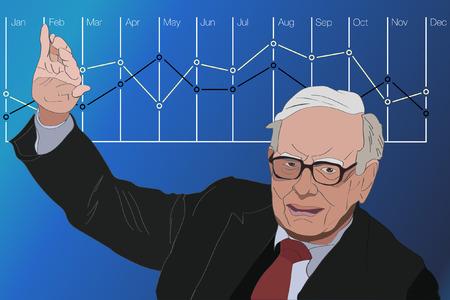 Jan, 2017: Investor en econoom Warren Buffett voorspelt de voorraden maket veranderingen zullen blijven stijgen. Warren Buffett portret, vector illustratie. Stock Illustratie
