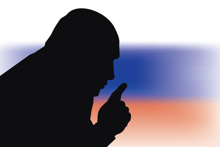 26 Feb, 2017: Russian President Vladimir Putin on Russian flag background. President Putin silhouette.