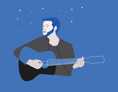 Romantic guitar player illustration on blue night sky background. Line style illustration