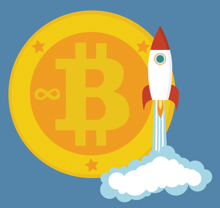 Golden bitcoins icon with a rocket as rapid take-off. Cryptocurrency virtual currency digital money ecash. Zdjęcie Seryjne
