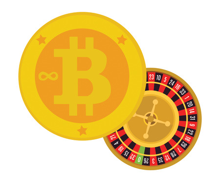 Golden bitcoins icon for cryptocurrency virtual currency digital money e cash with casino roulette as the symbol of risky operation and bitcoin unknown future.