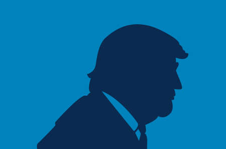 flag: June, 2017: President of the United States Donald Trump portrait. Trump silhouette on a blue background