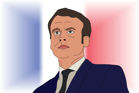 French President Emmanuel Macron vector portrait on a French flag. EPS vector illustration. Editorial use only
