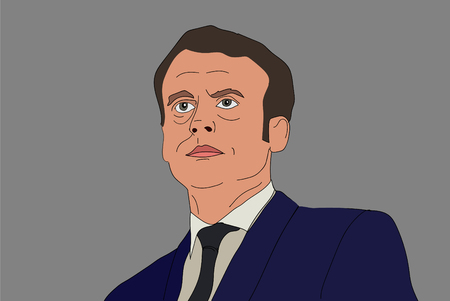 French President Emmanuel Macron vector portrait on a gray background. EPS vector illustration. Editorial use only