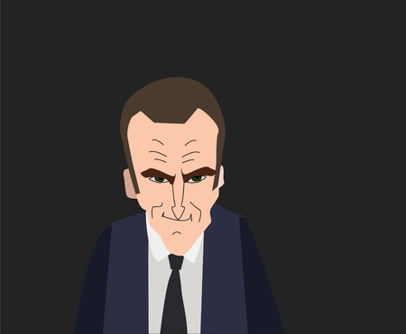 flag: French President Emmanuel Macron vector portrait on a gray background. EPS vector illustration. Editorial use only.