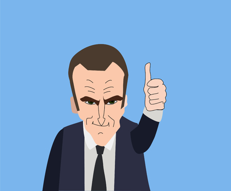 French President Emmanuel Macron vector portrait on a blue background. EPS vector illustration. Editorial use only.