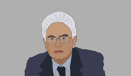 June, 2017: Sergio Mattarella an Italian politician, lawyer and judge who is the 12th and current President of Italy since 2015 vector portrait