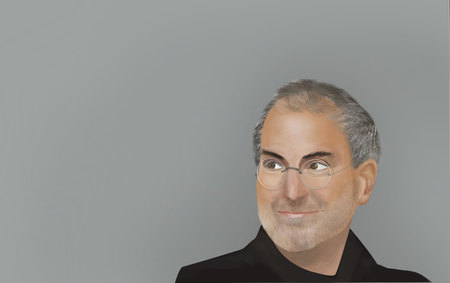 June, 2017: Steve Jobs portrait on a gray background.