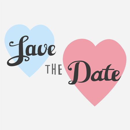 Save the date postcard wedding phrase ink modern brush calligraphy on blue and pink hearts Ilustracja