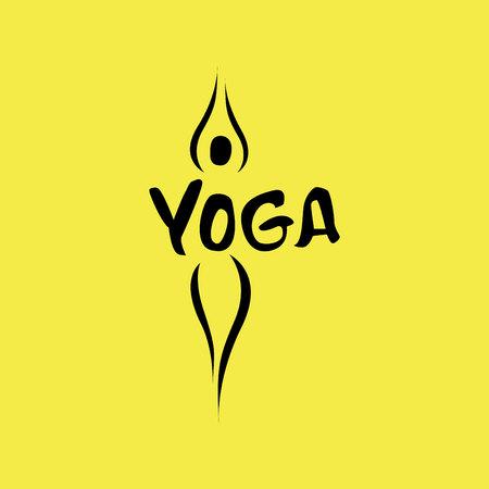 Yoga logo abstract design template linear style health spa meditation harmony logotype Illustration