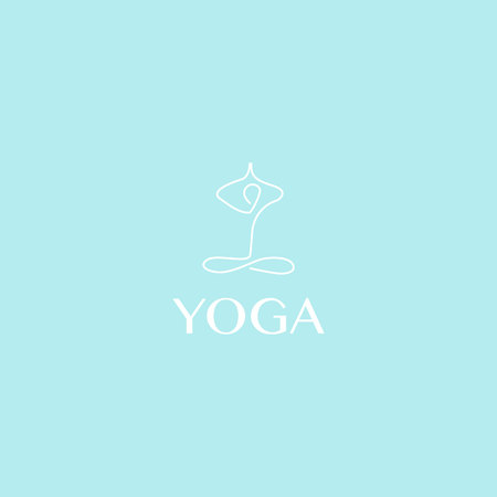 Yoga logo abstract design template linear style health spa meditation harmony logotype Zdjęcie Seryjne