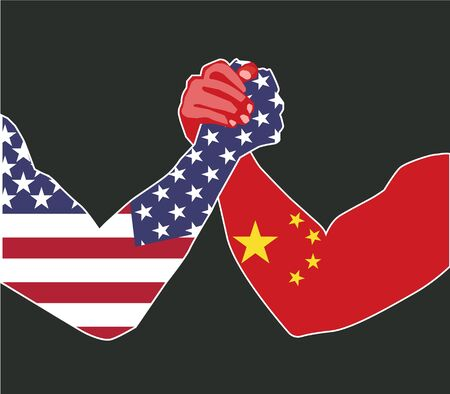 China and USA economic trade war concept. China dispute with the United States about the tariffs. Chinese - American politics conflict, import - exports USA - China fight concept. Vector illustration