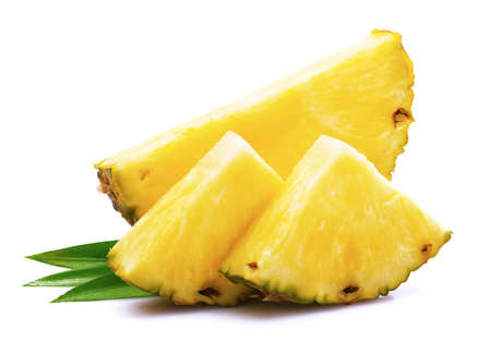 Ripe pineapple with leaf on white 스톡 콘텐츠