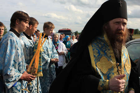 TOMSK, RUSSIA - AUGUST 9: Orthodox Procession from Tomsk and celebrations devoted to the second finding of a wonder-working icon of Our Lady from village of Bogorodsky, August 9, 2009 in Tomsk, Russia.