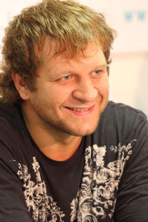 aleksander: TOMSK, RUSSIA - JULY 1: Aleksander Emelianenko - three-time champion of the World Combat Sambo at a press conference at the agency Inter-fax Siberia, July 1, 2009 in Tomsk, Russia. Editorial
