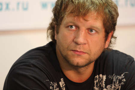 pankration: TOMSK, RUSSIA - JULY 1: Aleksander Emelianenko - three-time champion of the World Combat Sambo at a press conference at the agency Inter-fax Siberia, July 1, 2009 in Tomsk, Russia. Editorial