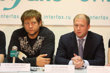 pankration: TOMSK, RUSSIA - JULY 1: Aleksander Emelianenko, three-time champion of the World Combat Sambo and Maxim Maximov, Head of Department for Youth Policy of the Tomsk region, July 1, 2009 in Tomsk, Russia.