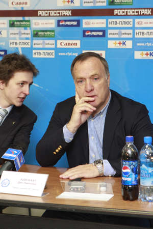 nicolaas: TOMSK, RUSSIA - APRIL 5: Dirk Nicolaas (Dick) Advocaat (right) is a Dutch football former player and current coach of the Belgian national football team and AZ Alkmaar, April 5, 2008 in Tomsk, Russia