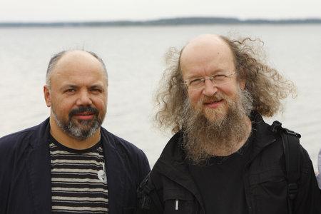 arkady: NOVOSIBIRSK, RUSSIA - SEPTEMBER 5: Jazz vocalist Arkady FreeMan Kirichenko (L) and Sergey Letov (R) - legendary jazz musician in Siberian tour, September 5, 2008 in Novosibirsk, Russia.
