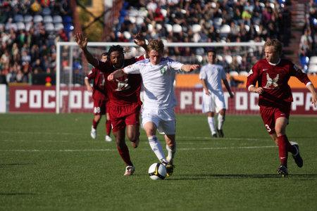 TOMSK, RUSSIA - SEPTEMBER 20: Football match Championship of Russia among Tom'(Tomsk) - Rubin (Kazan), September 20, 2009 in Tomsk, Russia. Stock Photo - 6887073