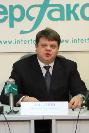 orchestrate: TOMSK, RUSSIA - December 4: Manager office Tomsk Bank VTB-24 Nicholas Lysenin at a press conference in agency Interfax-Siberia, December 4, 2009 in Tomsk, Russia. Editorial