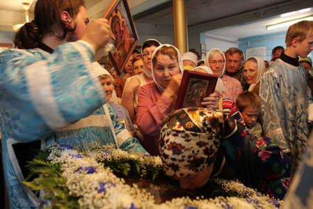 TOMSK, RUSSIA - AUGUST 9: Orthodox celebrations devoted to the second finding of a wonder-working icon of Our Lady from village of Bogorodsky, August 9, 2009 in Tomsk, Russia.