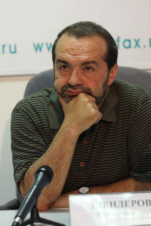 satire: TOMSK, RUSSIA - JULY 30: Viktor Shenderovich - Soviet and Russian and satirical writer, tele- and radio broadcaster at a press conference in agency Interfax-Siberia, July 30, 2009 in Tomsk, Russia.