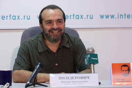 publicist: TOMSK, RUSSIA - JULY 30: Viktor Shenderovich - Soviet and Russian and satirical writer, tele- and radio broadcaster at a press conference in agency Interfax-Siberia, July 30, 2009 in Tomsk, Russia.