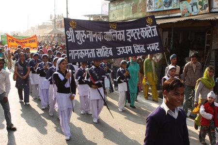 indigence: BANBASA, INDIA - JANUARY 9: Social demonstration of Sikhs and Hindus for better conditions of work, January 9, 2009 in Banbasa, India. Editorial