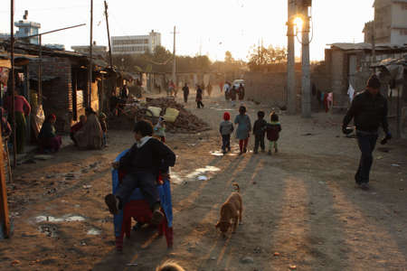KATHMANDU, NEPAL - JANUARY 7: A generic view of a poor housing area at Old Baneshwor near Bagmati river January 7, 2009 in Kathmandu Nepal. Stock Photo - 6887921