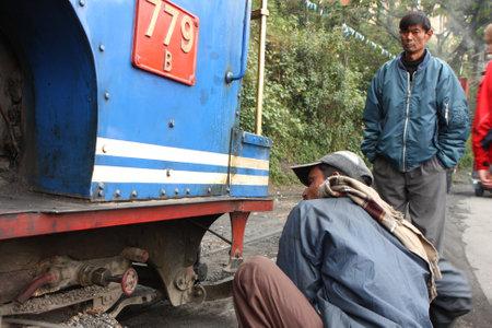 DARJEELING, INDIA - DECEMBER 3: The Darjeeling Himalayan Railway, nicknamed the Toy Train, is a 2 ft (610 mm) narrow-gauge railway from Siliguri to Darjeeling, December 3, 2008 in Darjeeling, India. Stock Photo - 6889023