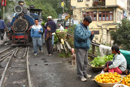 DARJEELING, INDIA - DECEMBER 3: The Darjeeling Himalayan Railway, nicknamed the Toy Train, is a 2 ft (610 mm) narrow-gauge railway from Siliguri to Darjeeling, December 3, 2008 in Darjeeling, India.